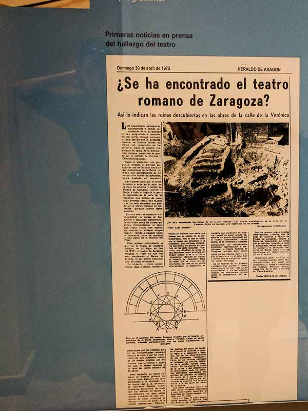 Noticia del Heraldo del hallazgo del Teatro Romano de Zaragoza