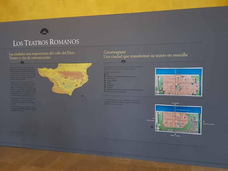Panel informativo del museo del teatro romano de Caesaraugusta