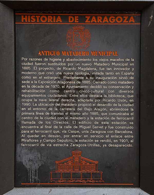 Placa Historia de Zaragoza: Antiguo Matadero Municipal