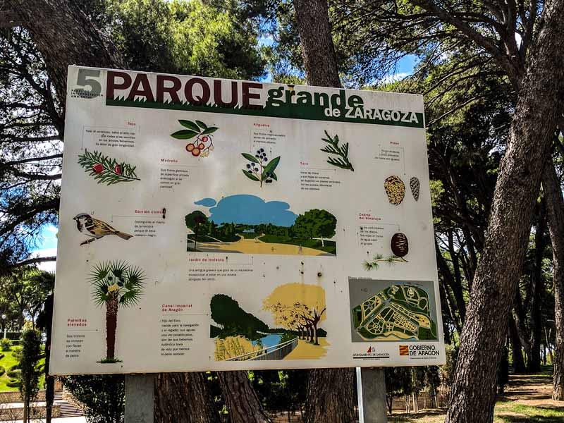 Panel de interpretación ambiental del parque grande Labordeta de Zaragoza