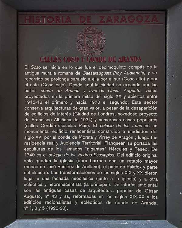 Placa Historia de Zaragoza: Calles Coso y Conde de Aranda