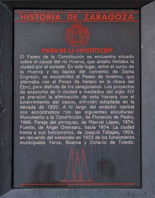 Placa Historia de Zaragoza: Paseo de la Constitución
