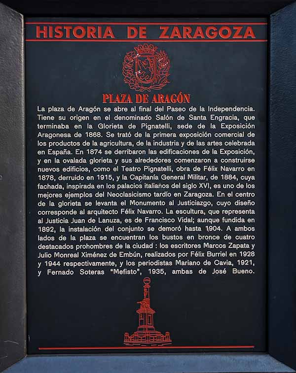 Placa Historia de Zaragoza: Plaza de Aragón