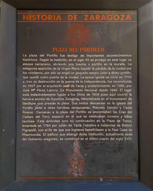 Placa Historia de Zaragoza: Plaza del Portillo