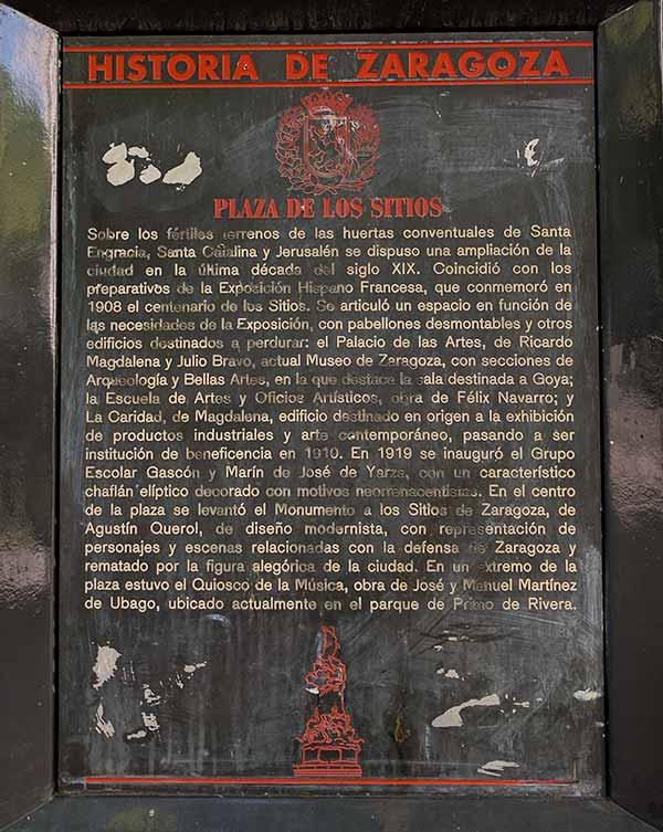 Placa de Historia de Zaragoza: Plaza de Los Sitios