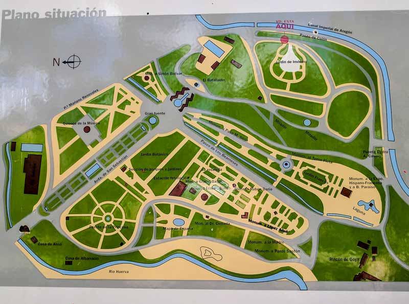 Plano del parque grande Labordeta de Zaragoza