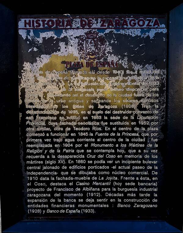 Placa Historia de Zaragoza: Plaza de España