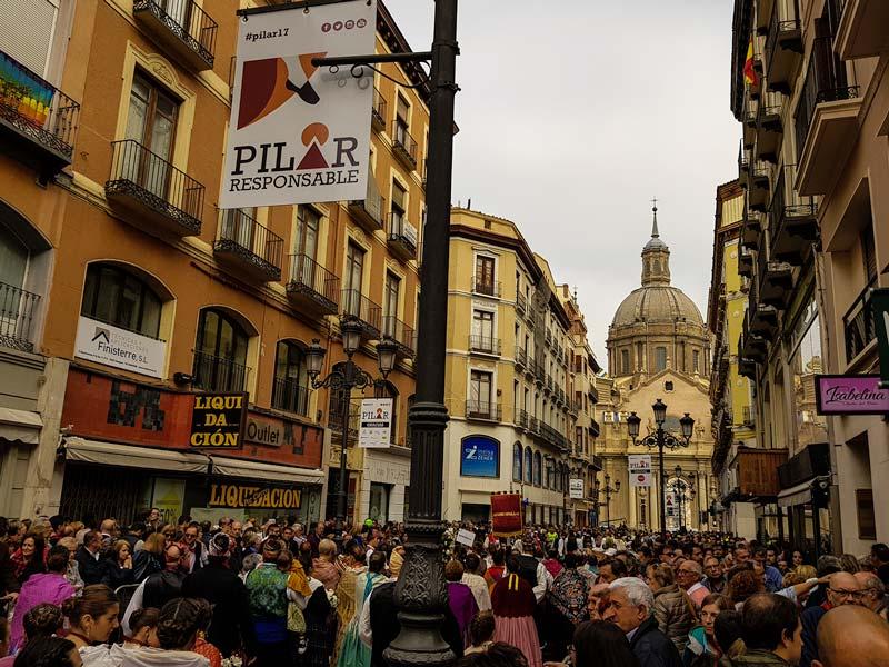 Calle Alfonso I en fiestas del Pilar