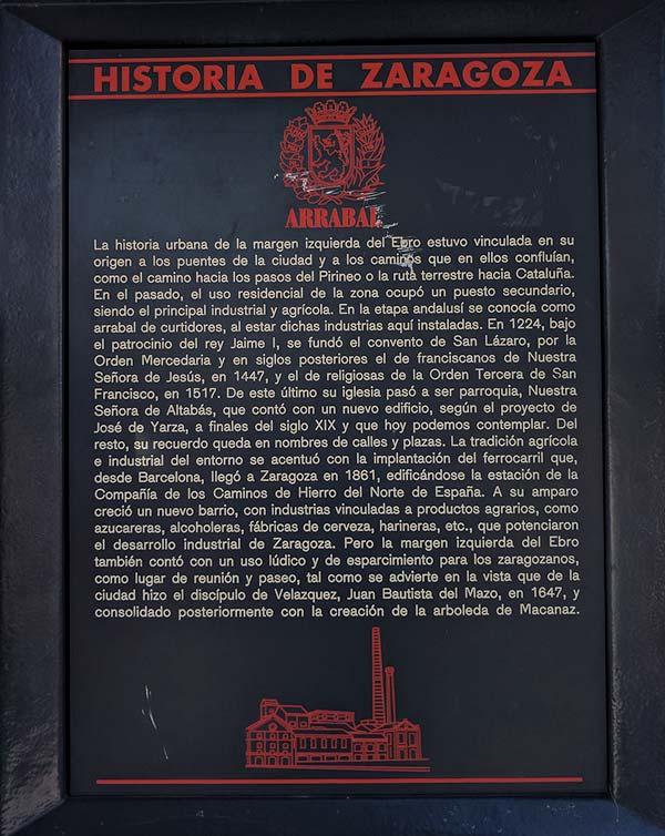 Placa Historia de Zaragoza: Arrabal
