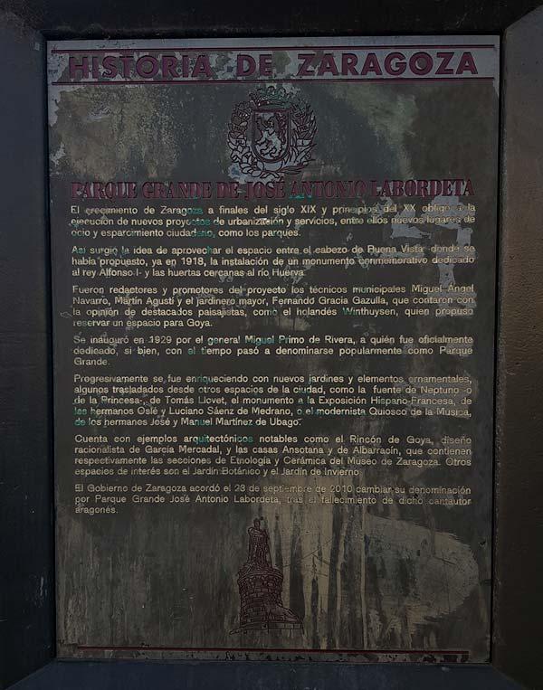 Placa Historia de Zaragoza - Parque Grande Jose Antonio Labordeta