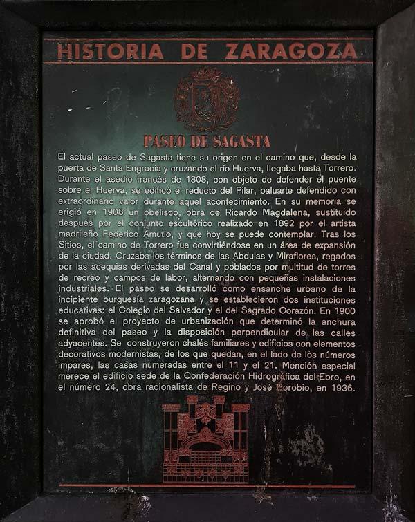 Placa Historia de Zaragoza: Paseo de Sagasta
