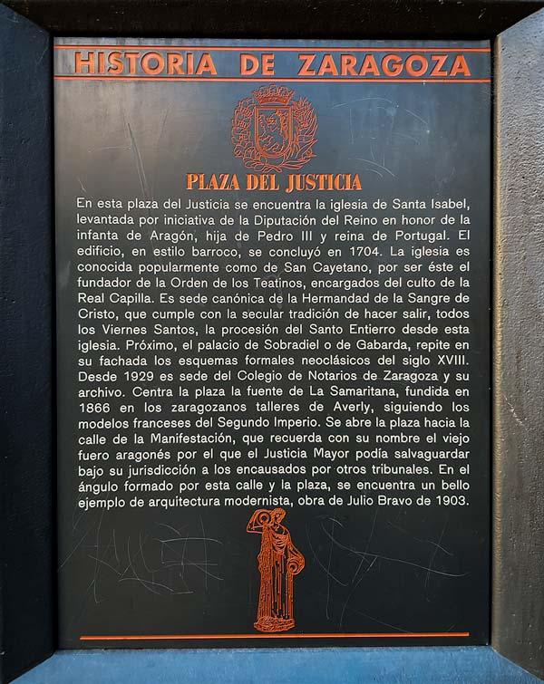 Placa Historia de Zaragoza: Plaza del Justicia