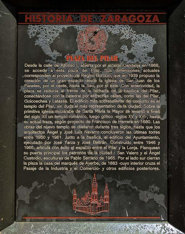 Placa Historia de Zaragoza: Plaza del Pilar