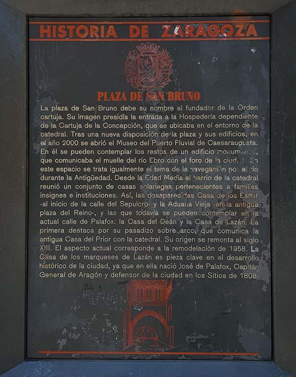 Placa Historia de Zaragoza: Plaza San Bruno