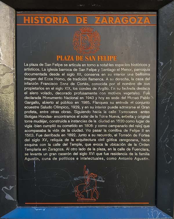 Placa Historia de Zaragoza: Plaza de San Felipe
