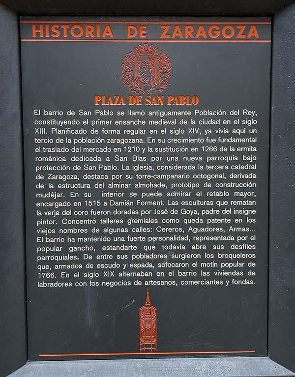 Placa Historia de Zaragoza - Plaza San Pablo