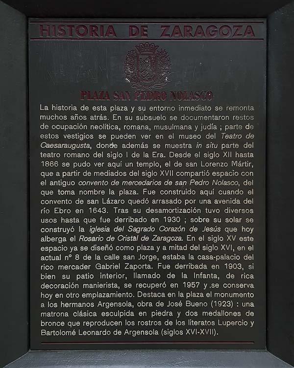 Placa Historia de Zaragoza - Plaza San Pedro Nolasco