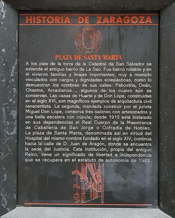 Placa Historia de Zaragoza - Plaza Santa Marta