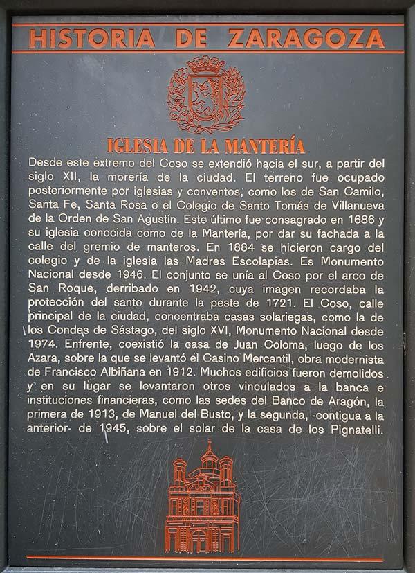 Placa Historia de Zaragoza: Iglesia de la Mantería
