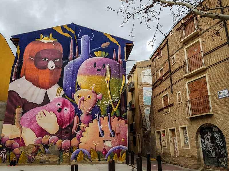 Mural de Barrome y Amandine - Festival Asalto 9ª edición - Barrio Arrabal - Zaragoza