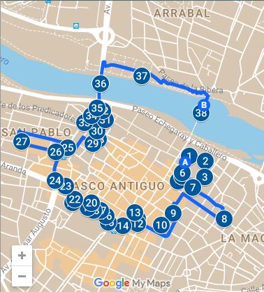Visitar Zaragoza en 1 día: Mapa tarde