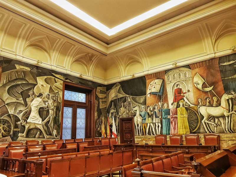 Antiguo salón de plenos del palacio de la Diputación Provincial de Zaragoza