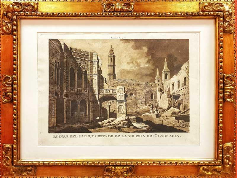 Grabado con las ruinas de Santa Engracia